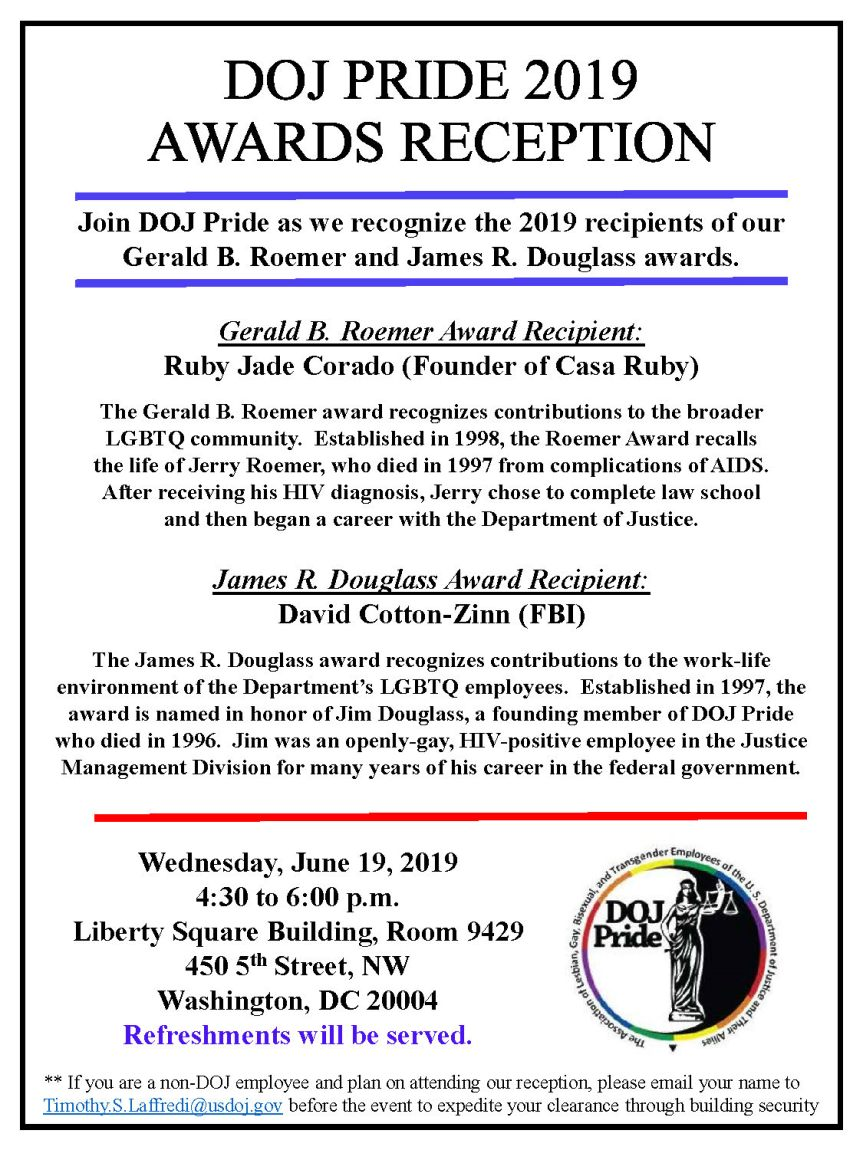 DOJ Pride Awards Reception – June 19th